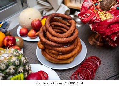 plate full of fruits and nepalese bread