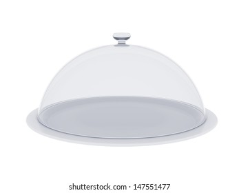 A plate with glass cover. Isolated render on a white background