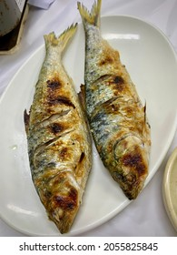 A plate of grilled gizzard shad.