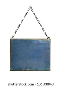 plate hanged on chains isolated