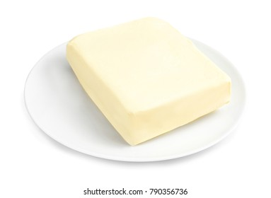 Plate with healthy fresh butter on white background