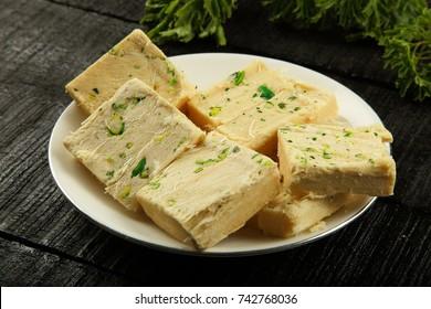 Plate of Indian sweet soan papdi