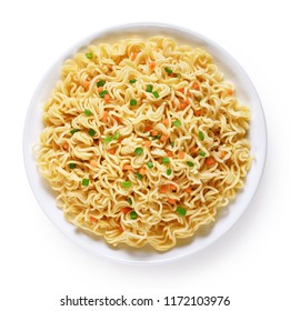 Plate of instant noodles isolated on white background. Top view.