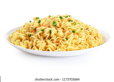 Plate of instant noodles isolated on white background. With clipping path.
