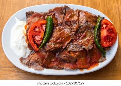 Plate of iskender doner in Turkey.