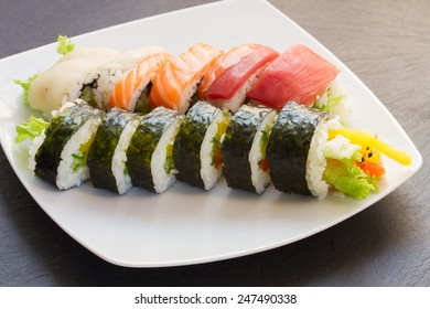 plate  with japaneese  raw  rolls sushi dish