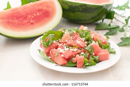 Plate with juicy watermelon salad horizontal