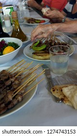 Plate of kebabs and salad for lunch, Aphrodisias,  Turkey