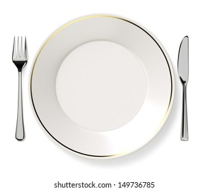 Plate, knife and fork.