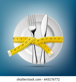 Plate with knife, fork and tailoring centimeter. Dieting and weight loss. Stock illustration.