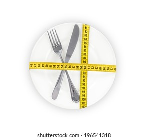 plate with a knife and fork wrapped in measuring tape