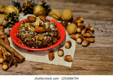 Plate with kutia - traditional Christmas sweet meal in Ukraine, Belarus and Poland, on wooden background