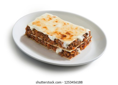 plate of lasagne with ragù sauce, typical italian food dish