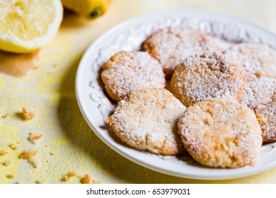 Plate with Lemon Cookies on the Table, Horizontal View