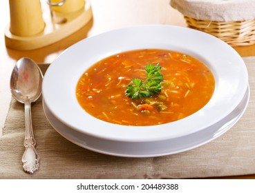 plate of minestrone soup