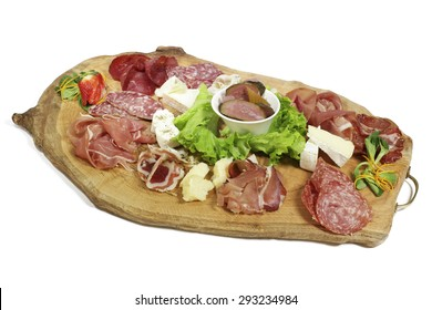 Plate of mixed meats and cheeses