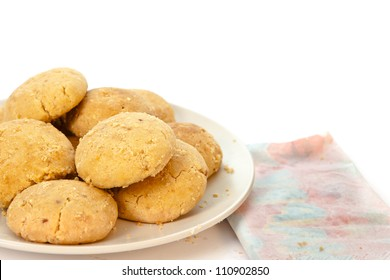 Plate of moroccan butter biscuits on white background