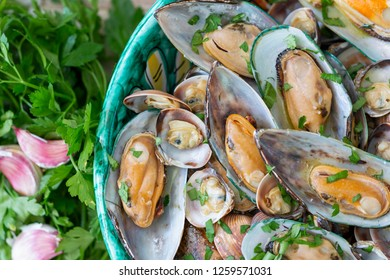 A plate of mussels and clams from above.