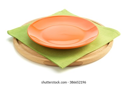 plate at napkin cloth on white background