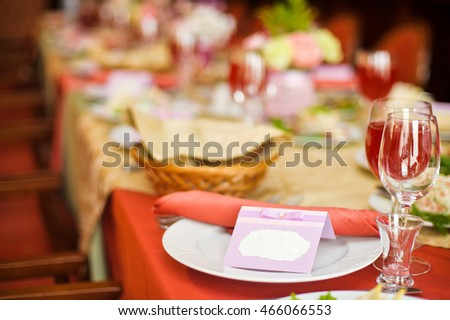 plate on wedding table guests name stock photo edit now 466066553