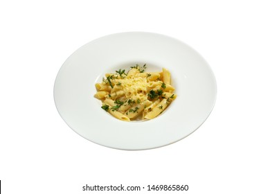 Plate with pasta on the white background
