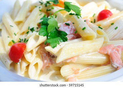 plate of pasta and smoked salmon