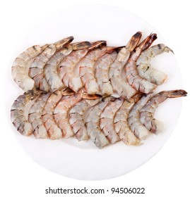 Plate with a Peeled Raw Tiger Prawns Isolated on White Background