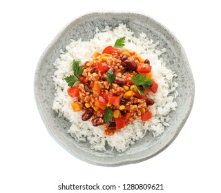Plate of rice with chili con carne on white background, top view