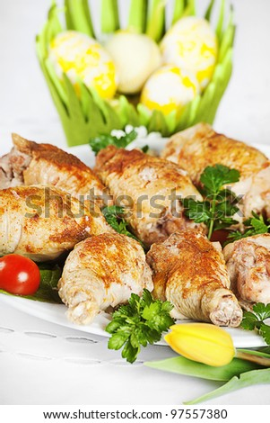 Plate Roasted Turkey Easter Egg Flower Stock Photo Edit Now