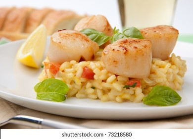 Plate of Scallops Risotto garnished with fresh basil, glass of white wine and bread.