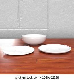 Plate Set Kitchen Counter 3D Render