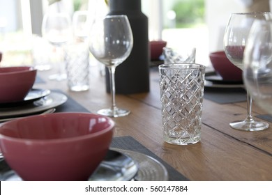 plate setting on table at home