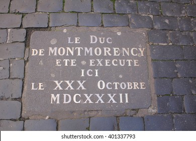 A plate showing the place of execution of Montmorency in Capitole. Toulouse, France. May 2015.