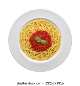 plate of spaghetti with tomato sauce and basil leaves, view from above