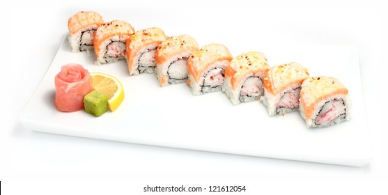 Plate of sushi on white background