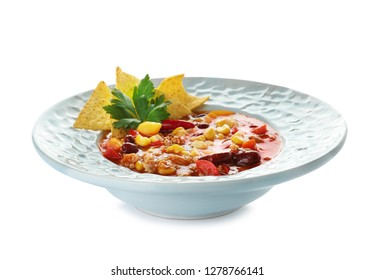 Plate with tasty chili con carne on white background