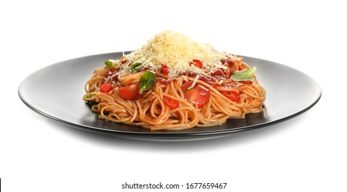 Plate with tasty pasta and cheese on white background