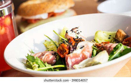 plate of  tasty salad and tomatoes