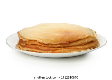 Plate with thin pancakes isolated on white background