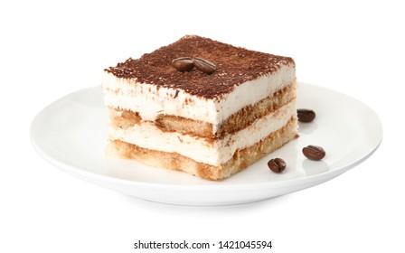 Plate of tiramisu cake isolated on white