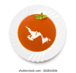 A plate tomato soup with cream in the shape of Newfoundland.(series)