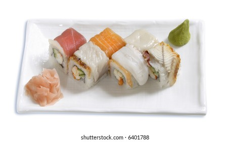 plate of traditional japanese rolls