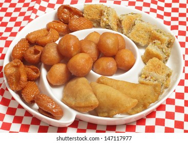 A plate of traditional Middle Eastern sweets that are particularly popular in the holy Muslim month of Ramadan
