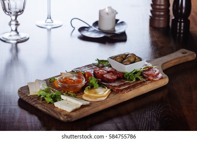 Plate of traditional smoked sausage and cheese/Traditional Portuguese cuisine