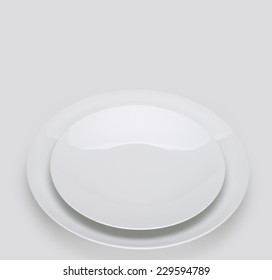 Plate - two flat white plates, empty