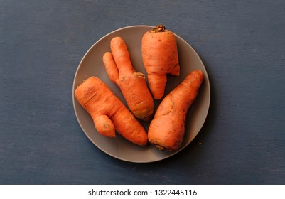 Plate with ugly carrots of different unusual imperfect shapes, viewed from above on grey background