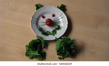 a plate of vegetable art