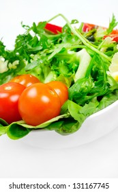 Plate with vegetable sliced salad
