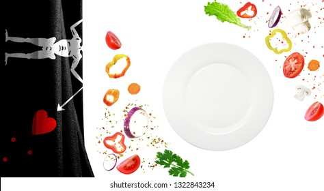 Plate with vegetables close up isolated on white background. Against the background of the Blackbeard Pirate flag