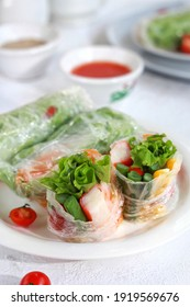 a plate of Vietnamese rice paper salad